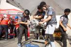 Team Flowmaster hard at work on their SB Chevy engine.